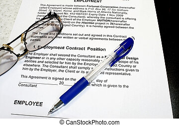 Employment Contract with pen and eyeglass- note that data...