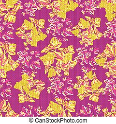abstract flowers on a pink background vintage seamless pattern in retro style