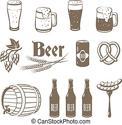 Set of monochrome, lineart food icons: beer - light and dark beer, mugs, bottles, hop cones, barley, beer keg, pretzel and sausages. Vector illustration, isolated on white, eps 10.