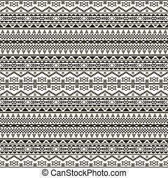 Seamless black and white pattern with ethnic motifs -...