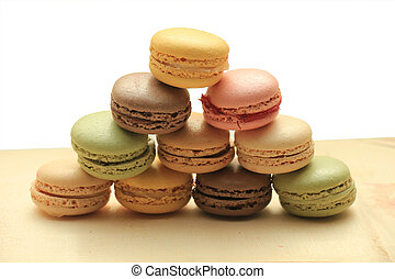 Macarons in pastel colors - Macarons in different colors and...