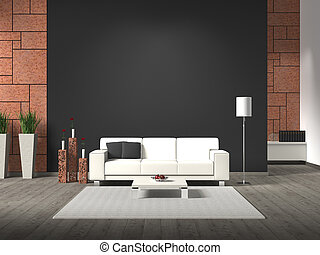 fictitious 3D rendering of modern interior with sofa and...