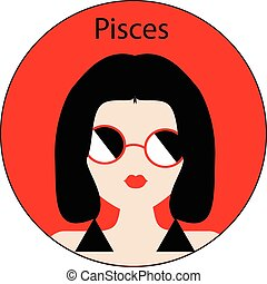 Pisces zodiac sign. Icon with fashionable woman face with...