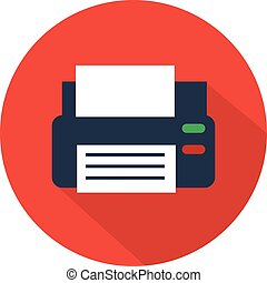 Printer icon flat style with long shadow