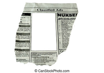 Classified Ads concept - cut out ready to use blank box for...