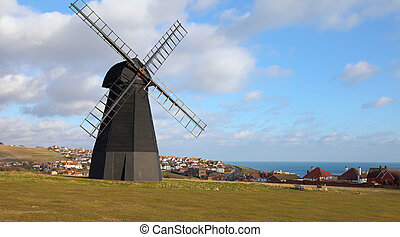 windmill old mill town england - windmill in england with...