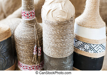 Handmade decorated bottle - Handmade decorated with twine,...