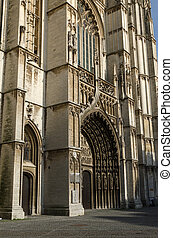 Main portal on the cathedral of Our Lady in Antwerp, Belgium...