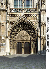 Main portal at the cathedral of Our Lady in Antwerp, Belgium...