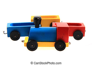 old wooden train toy isolated on the white background