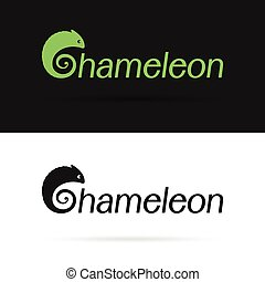 Vector design chameleon is text on a white background and black background . label, logo, benners