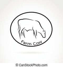 Vector image of an cow in the circle on white background. logo farm