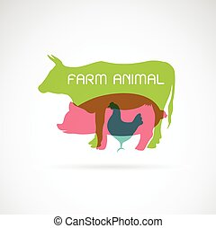 Vector group of animal farm label - cow,pig,chicken