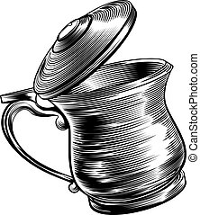 Woodcut Beer Stein Tankard - An illustration of a...