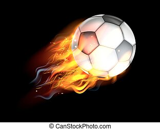 Soccer Ball on Fire - A flaming soccer football ball on fire...