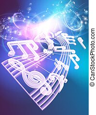 Music Notes Musical Background - A blue music background...