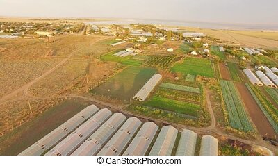 Large Territory Of Agricultural Greenhouses - AERIAL VIEW....