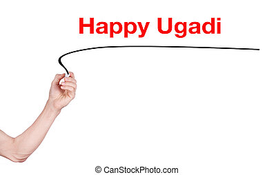 Happy ugadi word write on white background by woman hand...