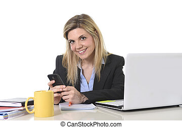 happy Caucasian blond business woman working using mobile...