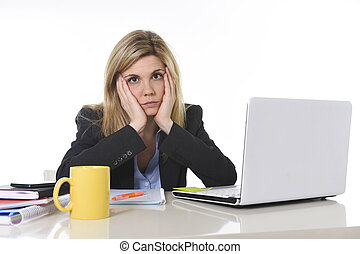 young beautiful business woman suffering stress working at...