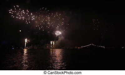 Fireworks over sea. - Fireworks over sea at night....