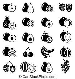 Set of fruits flat icons