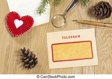 Vintage telegram - Christmas decoration with the vintage...