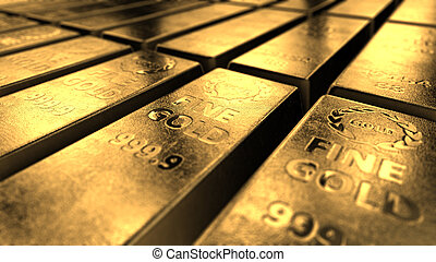 Close-up View Of Shiny Gold Bars Stacked Up In Perfect Rows...