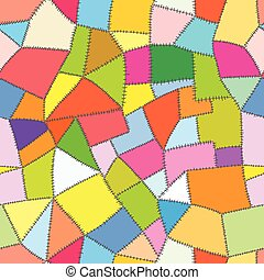 Hand drawn vector seamless pattern - colorful cloth patches...