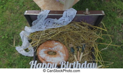 happy birthday rustic style on green background