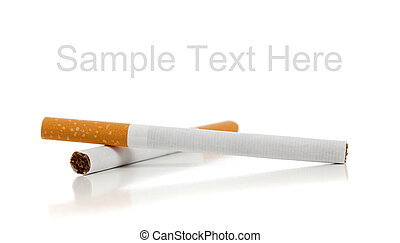 Cigarettes on a white background with copy space
