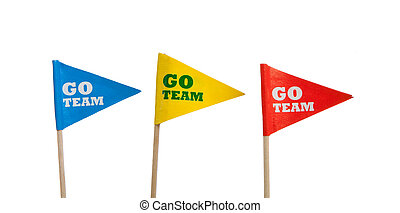 Sport pennants on a white background - Red, yellow and blue...