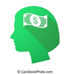 Long shadow female head with a dollar bank note -...
