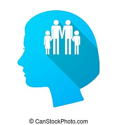 Long shadow female head with a gay parents family pictogram...