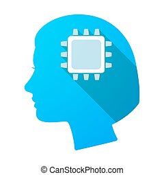 Long shadow female head with a cpu - Illustration of a long...