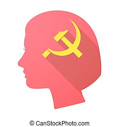 Long shadow female head with the communist symbol -...