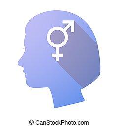 Long shadow female head with a bigender symbol