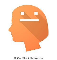 Long shadow female head with a emotionless text face