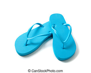 Colored flipflops on a white background - blue flipflops on...