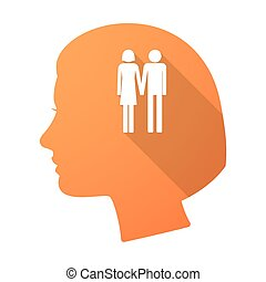 Long shadow female head with a heterosexual couple pictogram...