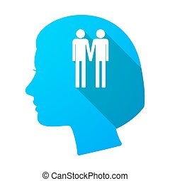Long shadow female head with a gay couple pictogram