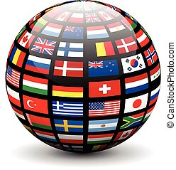 Flags of the world on a globe.