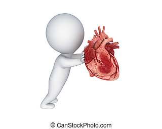 3d person pushing a human heart. - 3d small person pushing...