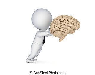 3d person pushing a human brain.