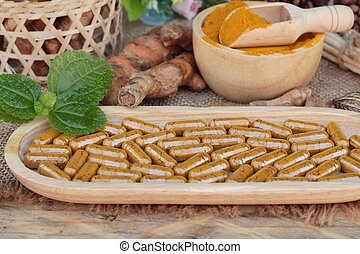Turmeric powder with tumeric capsules for health - Turmeric...
