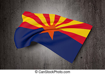 Arizona flag - 3d rendering of an Arizona flag on a dirty...