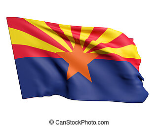Arizona flag - 3d rendering of an Arizona flag on a white...