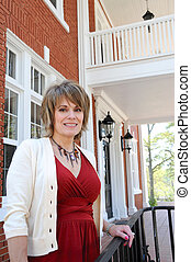 Attractive Woman on Porch - Attractive Woman on Front Porch...