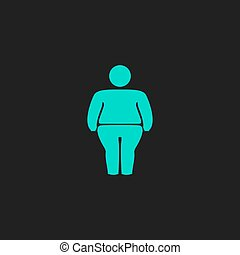Overweight man symbol Flat simple modern illustration...