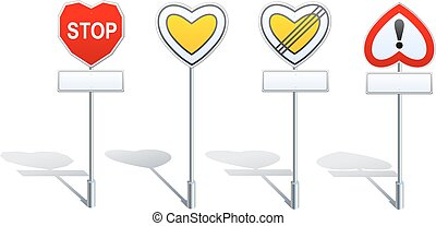 Heart shape road signs - priority etc - 4 priority and...